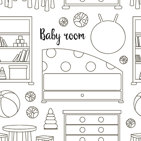 desk toy: Interior of baby room pattern. Nursery and playroom interior. Vector illustration