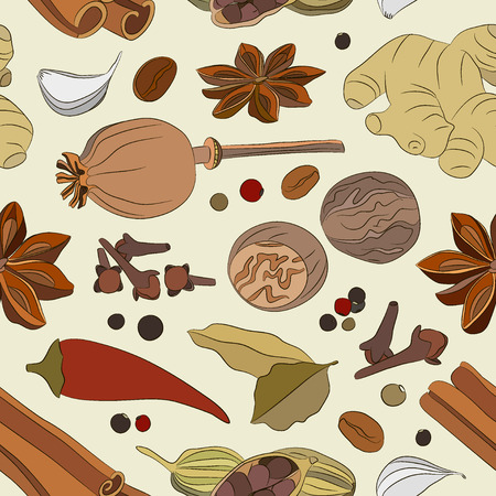 oregano: Spices, condiments and herbs decorative elements pattern