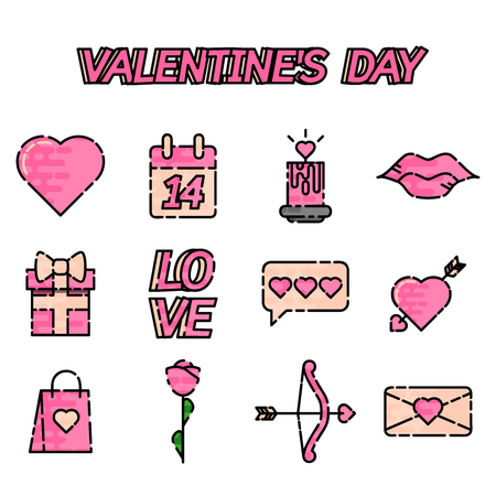 diamond letters: Valentines Day Icons set- flat design infographics. Vector illustration