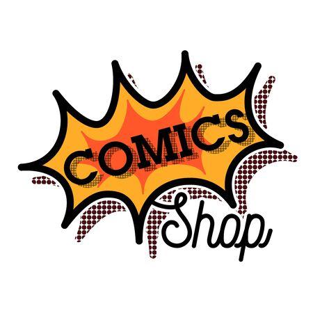marca libros: Color vintage comics shop emblem