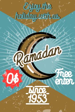 Color vintage ramadan banner Illustration