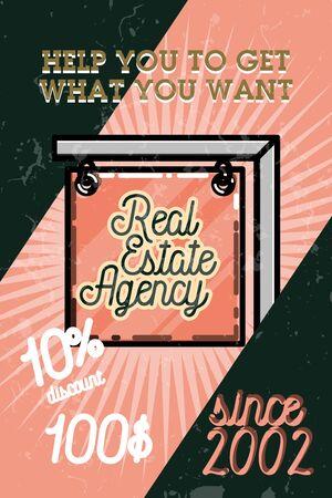 real estate agency: Color vintage real estate agency banner, symbol.  design template Illustration