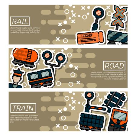 railcar: Set of Horizontal Banners about railroads