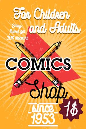 marca libros: Bandera de la tienda de cómics de cosecha de color