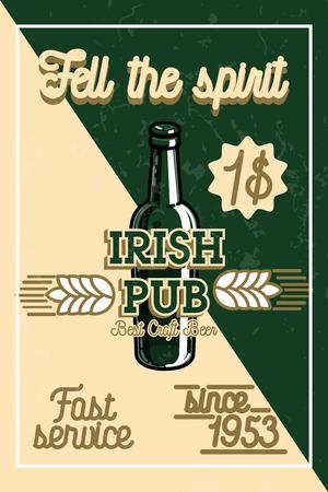 irish pub label design: Color vintage irish pub banner