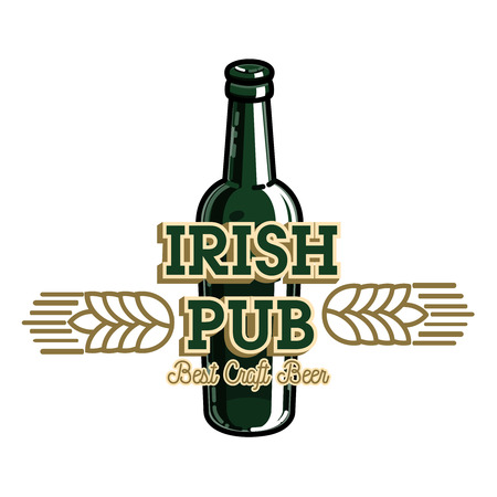 Color vintage irish pub emblem Illustration