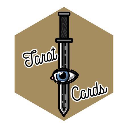 prophetic: Color vintage tarot cards emblem Stock Photo