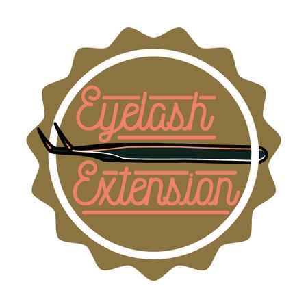 long eyelashes: Color vintage eyelash extension emblem