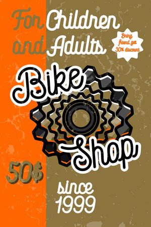 Color vintage bike shop banner Illustration