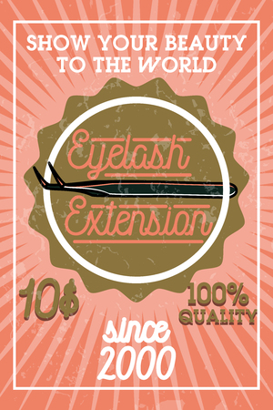 Color vintage eyelash extension banner