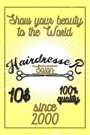 haircutting: Color vintage hairdresser salon banner