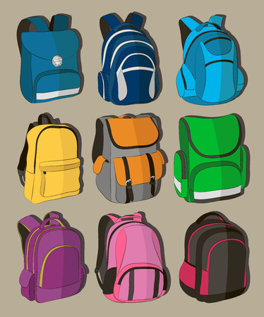 Colored school backpacks set Stock Photo