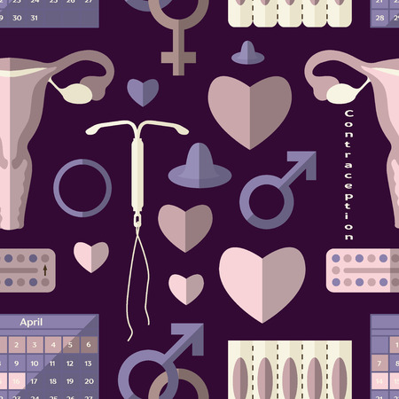 contraception: Contraception Day set pattern Illustration