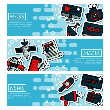 horizontal: Set of Horizontal Banners about mass media