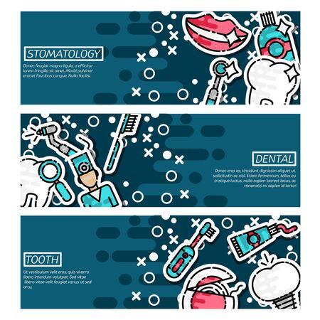 Set of Horizontal Banners about stomatology Illustration