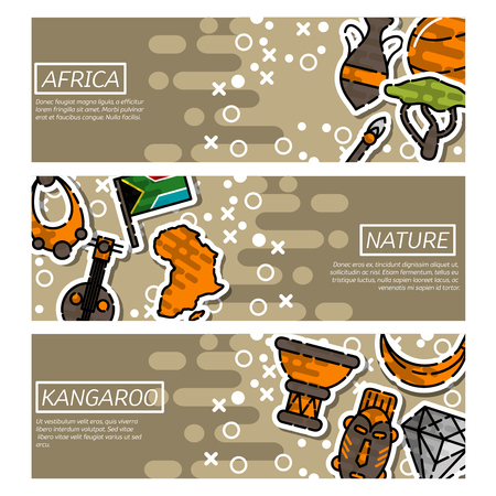 horizontal: Set of Horizontal Banners about Africa Illustration