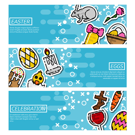 horizontal: Set of Horizontal Banners about easter