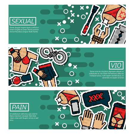 horizontal: Set of Horizontal Banners about sexual vio Illustration