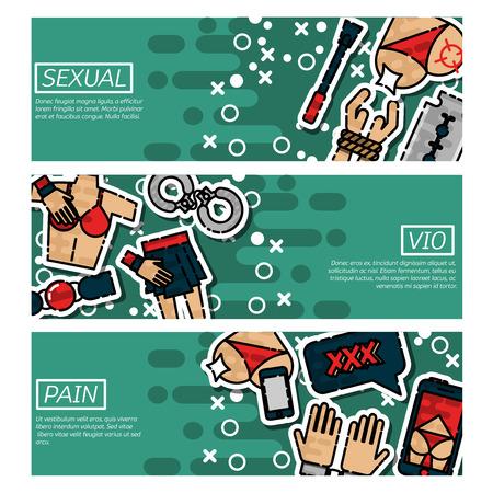 Set of Horizontal Banners about sexual vio Ilustração