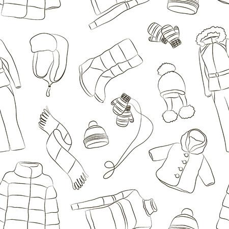 Set of warm winter clothes design pattern Illustration