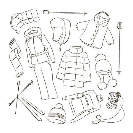 따뜻한 겨울 옷 디자인 세트