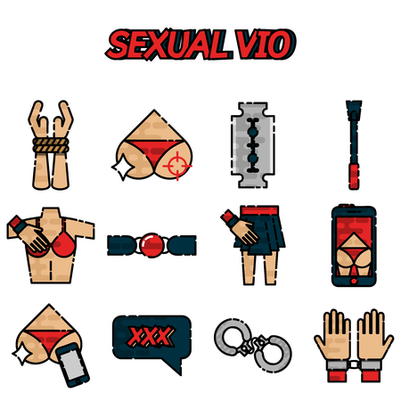 Sexual vio flat icons set