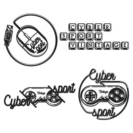 Color vintage cyber sport emblems, labels, badges and design elements. Logo for cybersport discipline or cybersport team. Ilustração