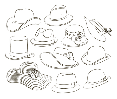 Vector set of man and woman hats. Vector illustration