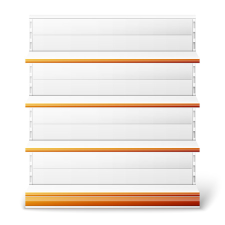 Set of empty supermarket shelves isolated on white background. Vector illustration
