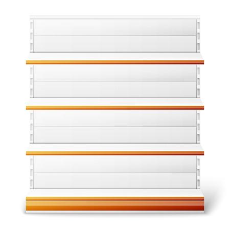 Set of empty supermarket shelves isolated on white background. Vector illustration