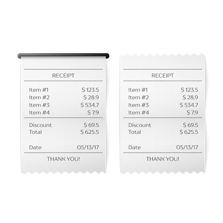 Vector Sales Printed Receipt. Bill Atm Template, Cafe Or Restaurant ...