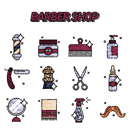 barber shop: Barber shop flat icons set