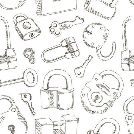Doodled set of Different Locks and Keys pattern Illustration