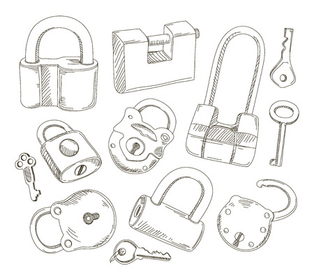 clues: Doodled set of Different Locks and Keys
