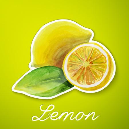 Lemon sticker, watercolor painting Stock Photo