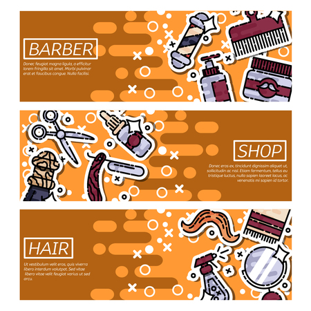 horizontal: Set of Horizontal Banners about barber shop
