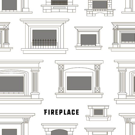 gas fireplace: Set of fireplace icons design pattern