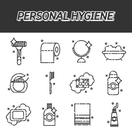 personal hygiene: Personal hygiene flat icons set