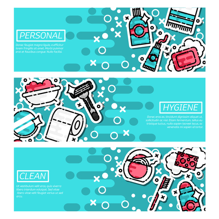 personal hygiene: Set of Horizontal Banners about personal hygiene