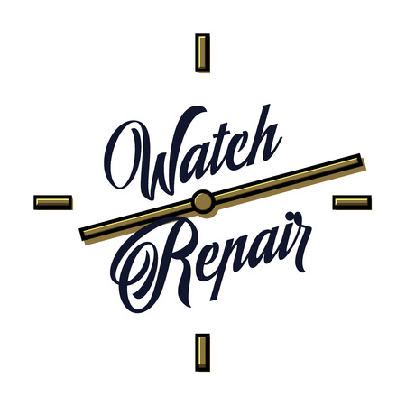 Color vintage watch repair emblem Ilustração