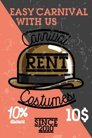 rent: Color vintage carnival costumes rent banner