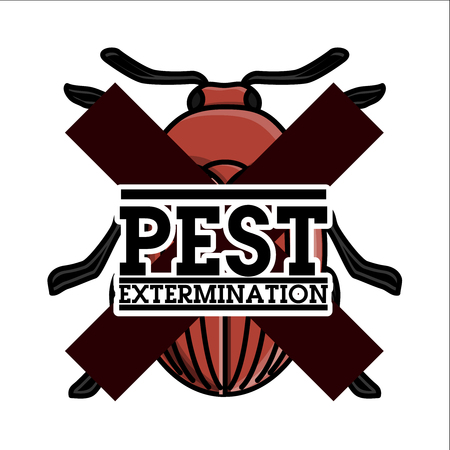 Color vintage pest extermination emblem