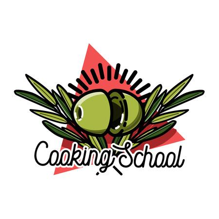 Color vintage cooking school emblem