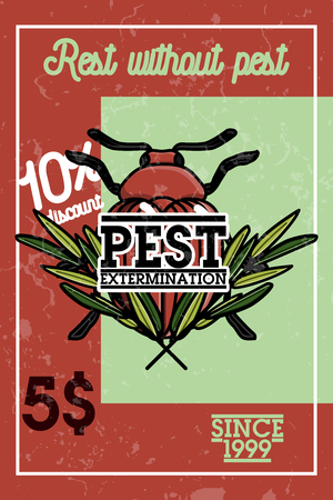 pest control equipment: Color vintage pest extermination banner