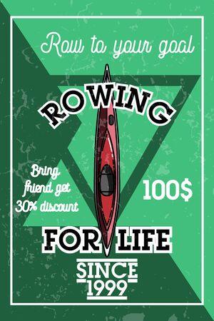 paddler: Color vintage rowing banner