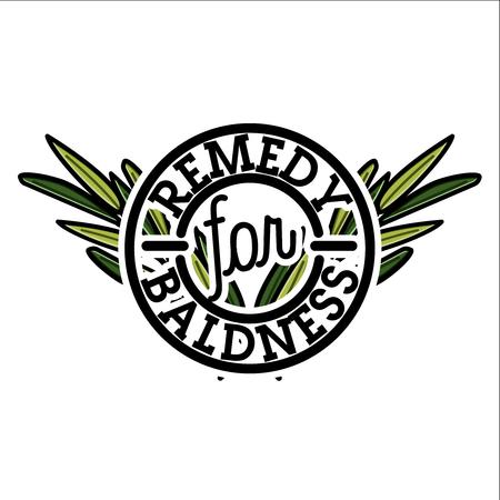 Color vintage remedy for baldness emblem