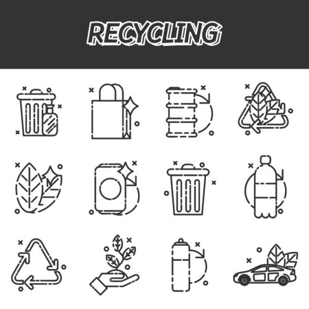 recycling: Recycling flat icons set Illustration