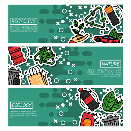 recycling: Set of Horizontal Banners about recycling