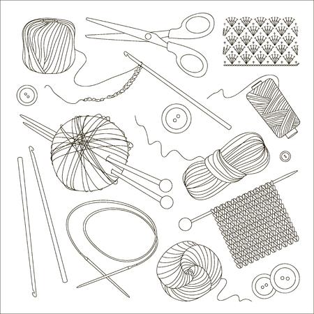 Stricken und Häkeln Set Vektorgrafik