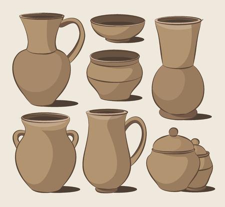 Rustic ceramic utensils